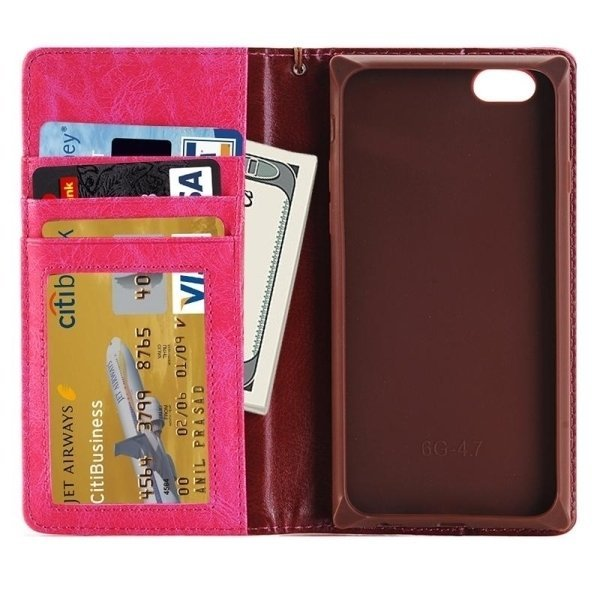 SUNSKY Denim Texture Magnetic Horizontal Flip Leather Cover for iPhone 6 Plus 6s Plus(Pink) (Intl)