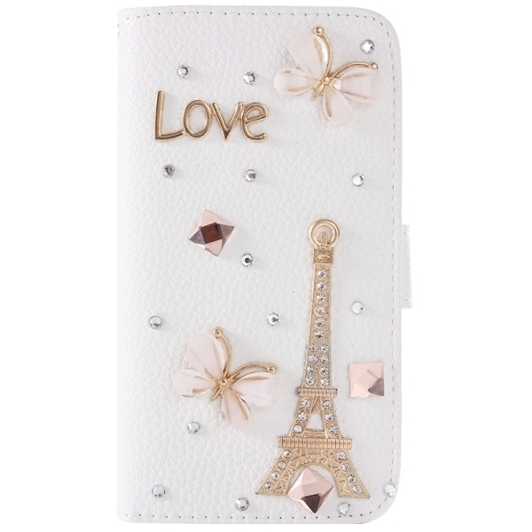 SUNSKY Diamond Encrusted Pattern Leather Cover for Samsung Galaxy A8 (White) (Intl)