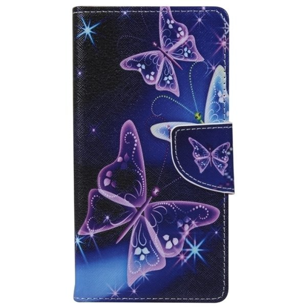 SUNSKY Fluorescent Butterfly Pattern Horizontal Flip Leather Case with Holder Card Slots Wallet for Microsoft Lumia 950 (Purple) (Intl)