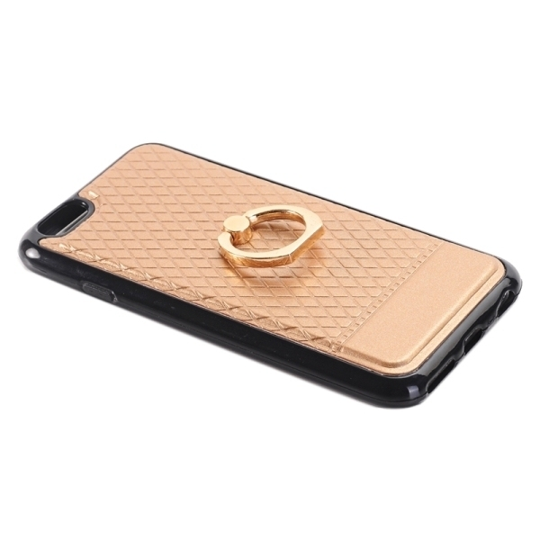 SUNSKY Grid Texture PU Paste Skin TPU Protective Back Case with Ring Holder for iPhone 6 Plus/6s Plus (Gold) (Intl)
