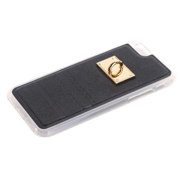 SUNSKY PU Paste Skin TPU Protective Back Case with Fox Pendant for iPhone 6 Plus/6s Plus (Black) (Intl)