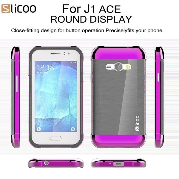 SUNSKY Slicoo Brushed Texture Electroplating PC + TPU Combination Case for Samsung Galaxy J1 Ace / J110 (Purple) (Intl)