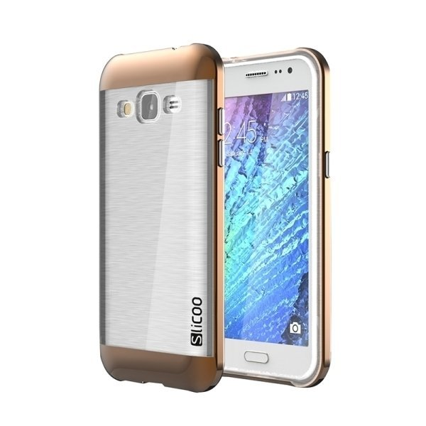 SUNSKY Slicoo Brushed Texture Electroplating Transparenct TPU + PC Combination Case for Samsung Galaxy J2 / J200 (Coffee) (Intl)