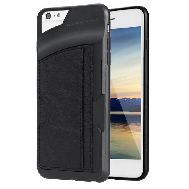 Sunweb Leather Cover Case For Iphone6 Plus Mobile Phone With Card Slot ( Black )