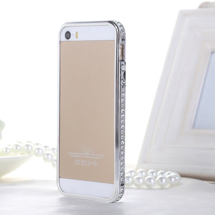 Sunweb Luxury Crystal Rhinestone Faux Diamond Metal Bumper Case for iPhone 5/5S (Silver)