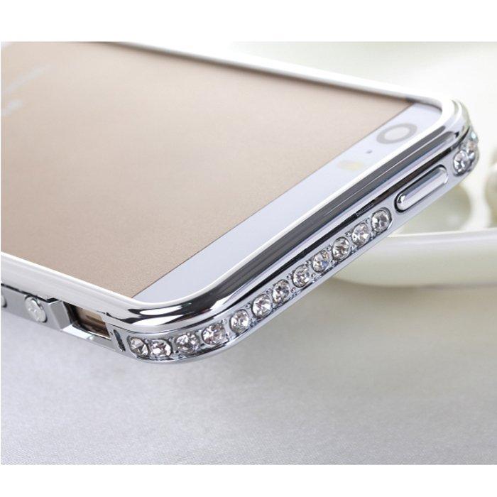 Sunweb Luxury Crystal Rhinestone Faux Diamond Metal Bumper Case for iPhone 5/5S (Silver)