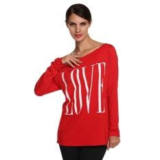 Sunweb Sunweb New Stylish Ladies Women Casual Long Sleeve Off Shoulder Letter Print Tops T-shirt (Red)
