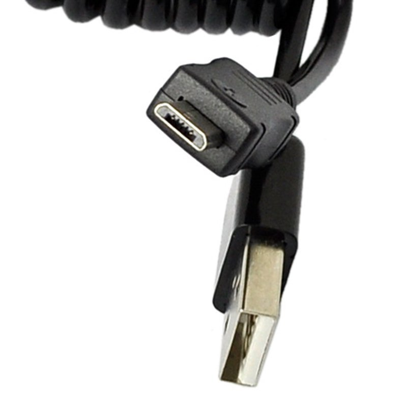 Sunwonder Spiral Coiled USB 2.0 A Male To Micro USB B 5Pin Cable Smart Phone 90CM (Black) (Intl)