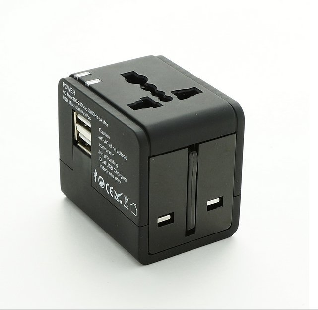 Super Power Universal Travel Adapter with Dual USB port - Hitam