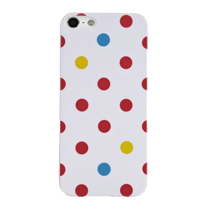 Supercart Cute Glossy Multicolor Polka Dots Hard Plastic Back Case for Apple iPhone 5 (White) (Intl)