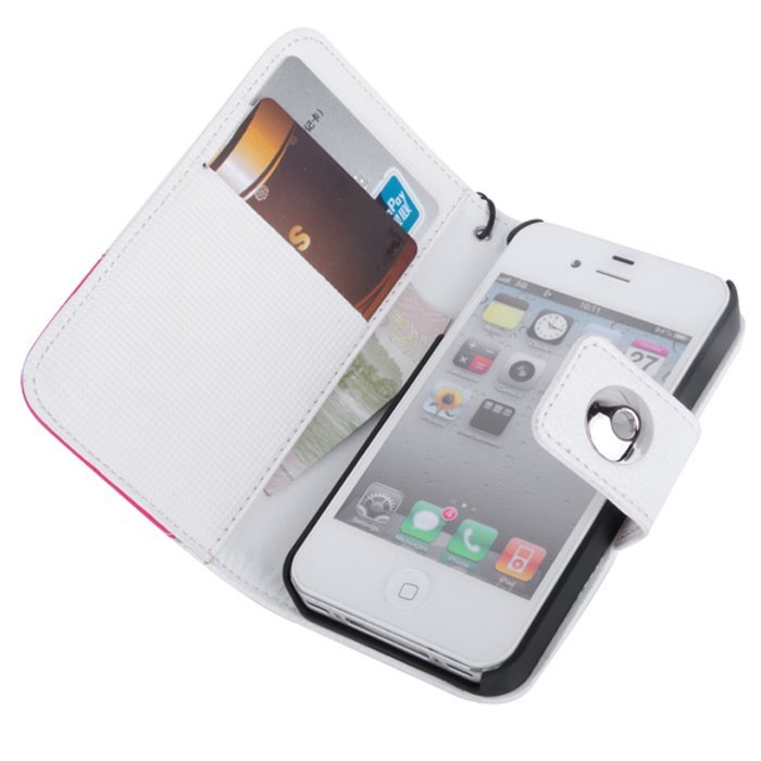 Supercart Leather Wallet Flip Cover for iPhone 4 4S (White/Pink) (Intl)