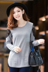 SuperCart The Autumn Women Slim Sweater Sexy Lace Shoulder Long Sleeve T-shirt (Grey Size 2XL) - Intl
