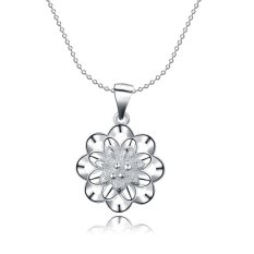 Supercart Wedding Accessories Chain Necklace Jewelry Flower Shape For Women Christmas Gift (Silver) (Intl)
