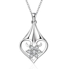 Supercart Wedding Accessories Chain Necklace Jewelry Pendant Rhinestones Chain Love Heart Shape For Gift (Silver) (Intl)