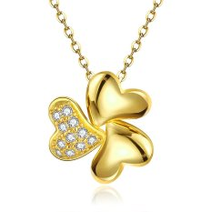 Supercart Wedding Accessories Flower Shape 18K Real Gold Plated Necklace Pendants Rhinestones Crystal Jewelry (Gold) (Intl)