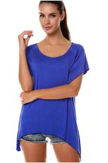 SuperCart Women's Fashion Casual Irregular Solid T-Shirt Dark Blue (Intl)