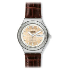 Swatch Quaterman Irony Brown Leather Mens Watch YGS738 - Intl