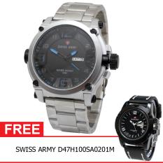 Swiss Army BOGOF H135D48SA3517MSLB Daydate Elegant Jam Tangan Pria (Silver) + Gratis Swiss Army D47H100SA0201M