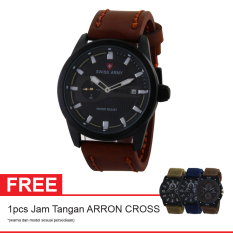 Swiss Army Elegant Jam Tangan Pria - Kulit - Coklat - SA 4198BOGOF BL BRW + Gratis Jam Tangan Arron Cross