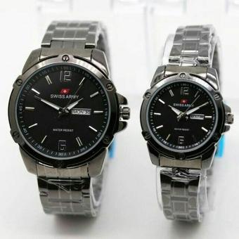 Swiss Army - Jam Tangan Couple - Stainless Steel - SA 1591 Black
