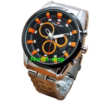 Swiss Army Jam Tangan Pria - Dual Time - Stainlessteel Strap - SA 1146S Orange