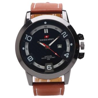 Swiss Army Jam Tangan Pria - Leather Strap - Dark Brown - SA 121 Coklat