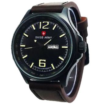 Swiss Army - Jam Tangan Pria - Leather Strap - Sa 1062 Dark Brown