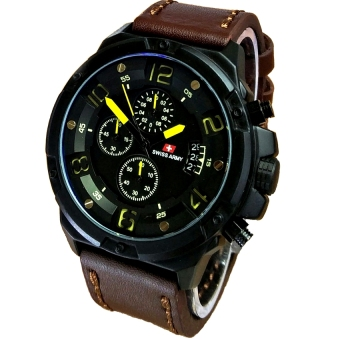 Swiss Army - Jam Tangan Pria ? Leather Strap - SA 2969DB Yellow