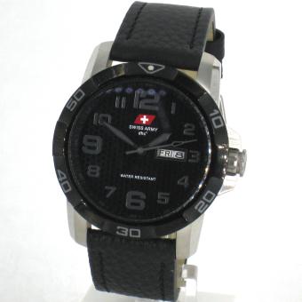 Swiss Army - Jam Tangan Pria - Silver-Hitam-Angka Grey- Strap Hitam - 5106