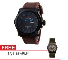 Swiss Army Mens Elegant - Cokelat - Stainless / Kulit - SA 7169 BL DABRW - Biru + Gratis Swiss Army SA 1118