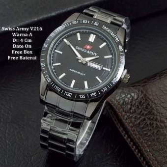 Swiss Army Men's - Jam Tangan Pria - Strap Stainless Silver - SA 6548 AD Full Black