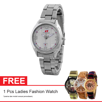 Swiss Army SA 7777 SS SIL + Free Jam Tangan Ladies Fashion - Jam Tangan Wanita
