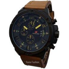 Swiss Army SA135-C Jam Tangan Pria Strap Leather Coklat Lis Kuning