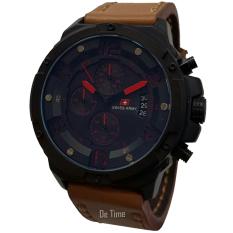 Swiss Army SA135-C Jam Tangan Pria Strap Leather Coklat Lis Merah