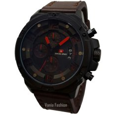 Swiss Army SA135-C Jam Tangan Pria Strap Leather Coklat Tua Lis Merah