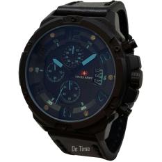 Swiss Army SA135-C Jam Tangan Pria Strap Leather Hitam Lis Biru