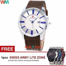 Swiss Army SA4124 Jam Tangan Pria -Biru Silver-Strap Kulit Coklat + Jam Tangan Casual (Blue)