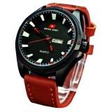 Swiss Army - SA6501M - Jam Tangan Pria - Kulit - Coklat Muda List Merah