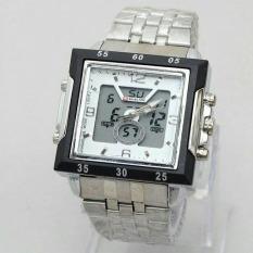 Swiss Army / Time Jam Tangan Pria ? Stainlesstell Strap ? Dual Time- SA65IOSH6 Silver White