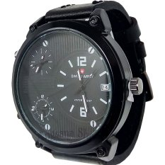 Swiss Army Triple Time Black - Jam Tangan Pria Fashion Triple Time - Strap Leather Black