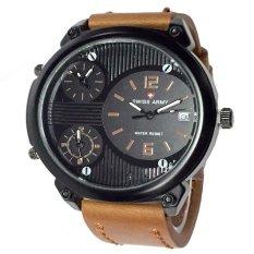 Swiss Army Triple Time- Jam Tangan Pria- Leather Strap-Sa 1570 Light Brown