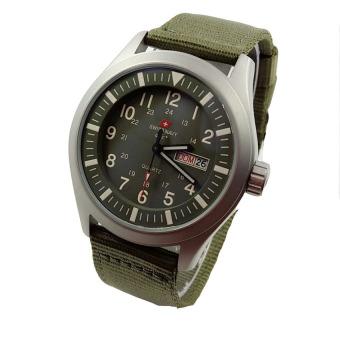 Swiss Navy - Jam Tangan Pria - Strap Canvas - SN 8801Silver Green