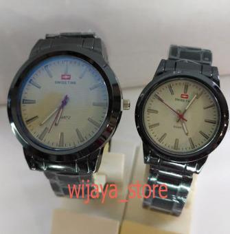 Swiss Time / Army - Jam Tangan Couple Stainless Steel S21813 Hitam Putih