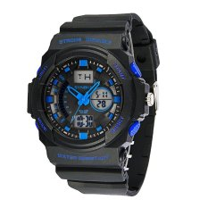 SYNOKE Big Dial 5ATM Water-proof Men Sports Watch Dual Time Display Multi-function Night Light Alarm Chronograph Hourly Chime SPL Student Men Wristwatch For Exercise Outdoor Activities