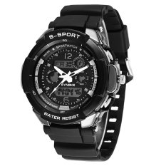 SYNOKE Dual Movements Cool Men Sports Watch 5ATM Water-proof Multi-function Men Wristwatch With Alarm Chronograph Backlight Big Dial Dual Time Display