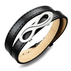 Synthesis Leather Men Wrap Bracelets Fashion Stainless Steel Men's Jewelry (Black) (Intl)