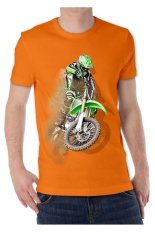 T-Shirt Glory Kaos 3D Motor Cross Orange - Orange
