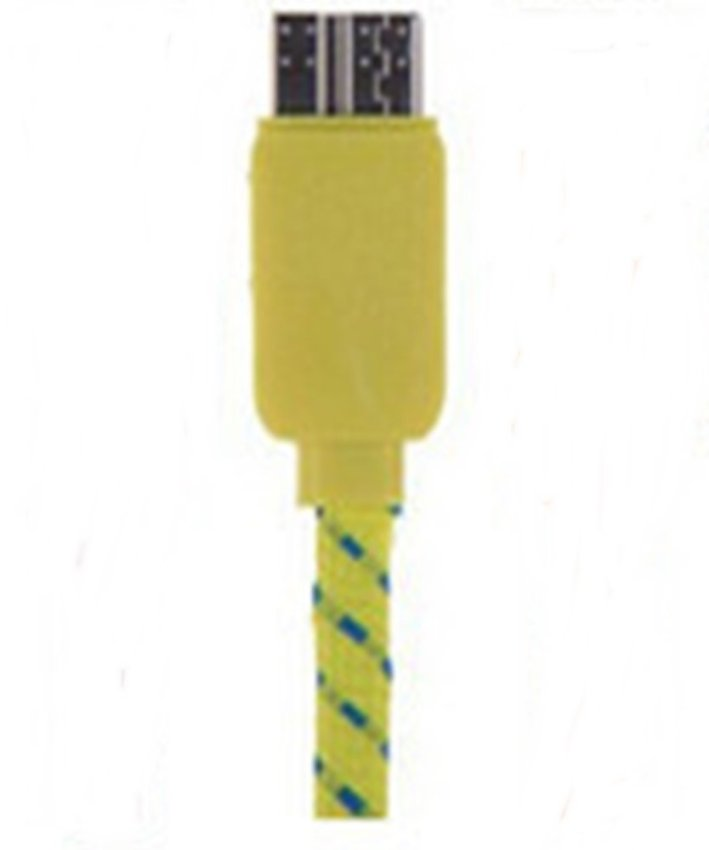 Taff Flat Braided Micro USB 3.0 Charging SYNC Cable For Galaxy Note 3/4 - Kuning