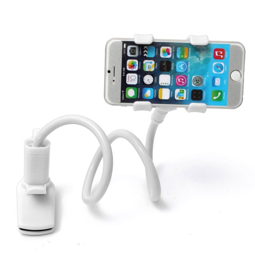 Telescopic Plastic Clamp Holder Cradle Stand Mount For Mobile Phone Tablet White