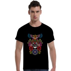 The Beijing Opera People Face Cotton Soft Men Short T-Shirt (Black) - Intl